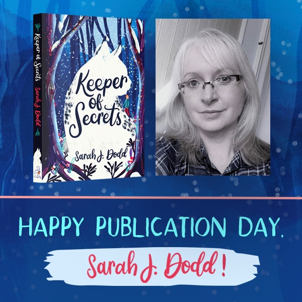 Cover of Keeper of Secrets and a photograph of author Sarah J Dodd